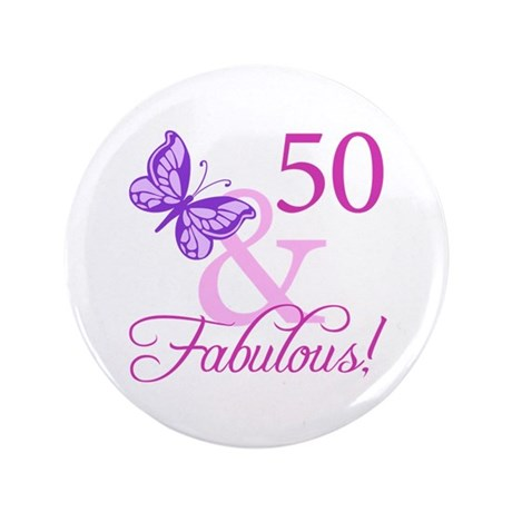 "50 & Fabulous (Plumb) 3.5"" Button (100 pack)"