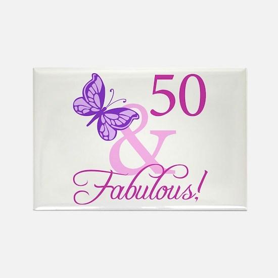 50 & Fabulous (Plumb) Rectangle Magnet