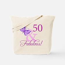 50 & Fabulous (Plumb) Tote Bag