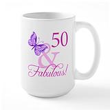 50th birthday women Large Mugs (15 oz)