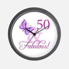 50 & Fabulous (Plumb) Wall Clock