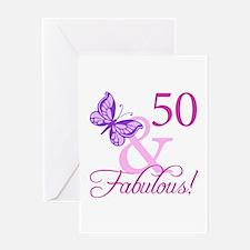 50 & Fabulous (Plumb) Greeting Card