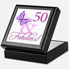 50 & Fabulous (Plumb) Keepsake Box