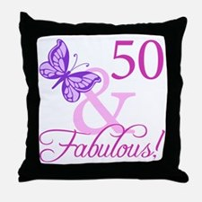 50 & Fabulous (Plumb) Throw Pillow