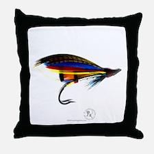 Silver Doctor Salmon Fly Throw Pillow