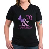70th birthday for women Womens V-Neck T-shirts (Dark)