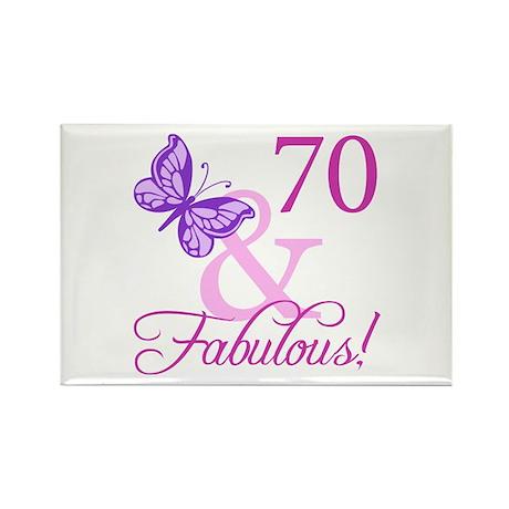 70 & Fabulous (Plumb) Rectangle Magnet (100 pack)