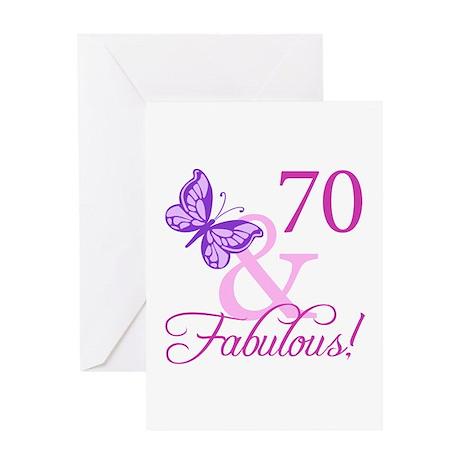 70 & Fabulous (Plumb) Greeting Card