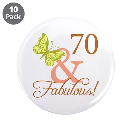 """70 & Fabulous (Autumn) 3.5"""" Button (10 pack)"""