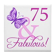 75 & Fabulous (Plumb) Tile Coaster