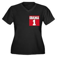 Obama 1 Women's Plus Size V-Neck Dark T-Shirt