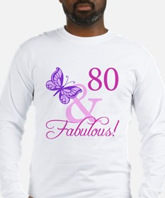 80 & Fabulous (Plumb) Long Sleeve T-Shirt