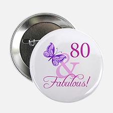 "80 & Fabulous (Plumb) 2.25"" Button"