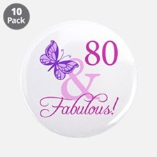 "80 & Fabulous (Plumb) 3.5"" Button (10 pack)"