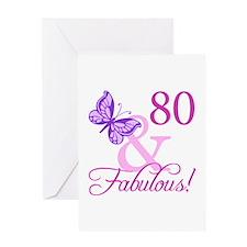 80 & Fabulous (Plumb) Greeting Card