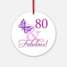 80 & Fabulous (Plumb) Ornament (Round)
