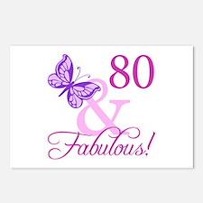 80 & Fabulous (Plumb) Postcards (Package of 8)
