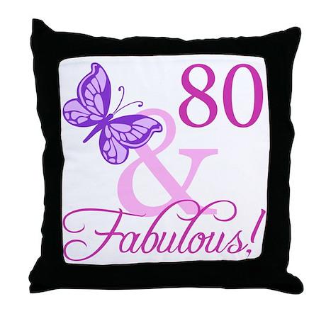 80 & Fabulous (Plumb) Throw Pillow