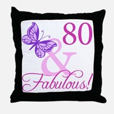 80 & Fabulous (Plumb) Throw Pillow