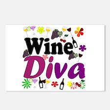 Wine Diva (Purple Flowers) Postcards (Package of 8