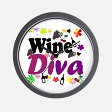 Wine Diva (Purple Flowers) Wall Clock