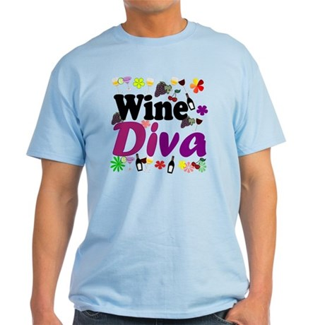 Wine Diva (Purple Flowers) Light T-Shirt