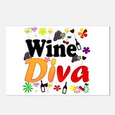 Wine Diva (Orange Flowers) Postcards (Package of 8