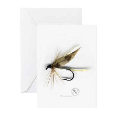 Cummins Wet Fly (March Brown) Greeting Cards (Pk o