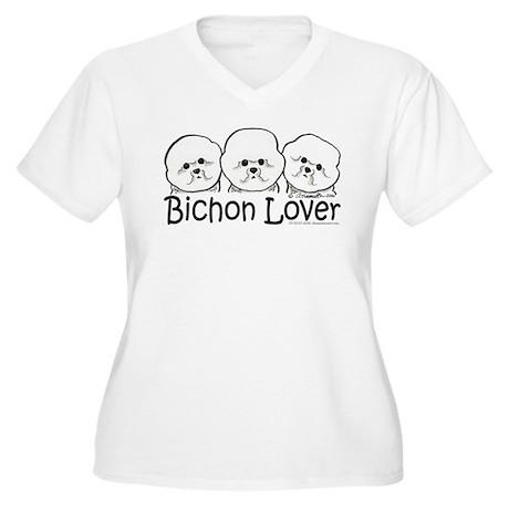 Bichon Frise Lover Women's Plus Size V-Neck T-Shir