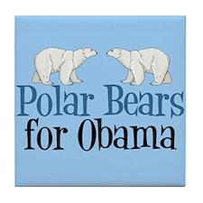 Polar Bears for Obama Tile Coaster
