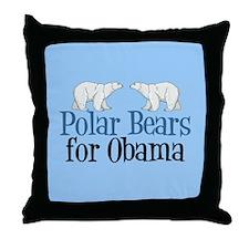 Polar Bears for Obama Throw Pillow