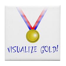 Visualize Gold Tile Coaster