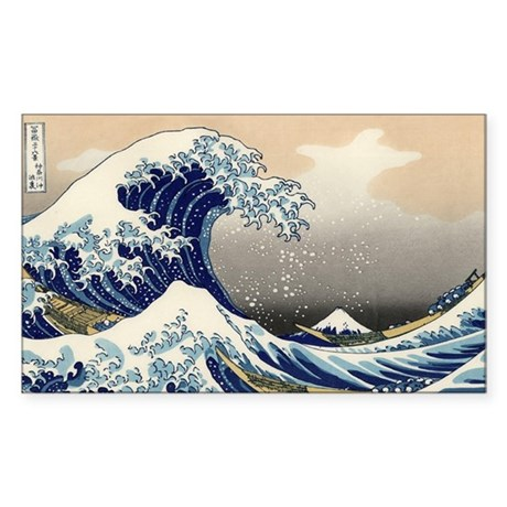 Great Wave Sticker (Rectangle)