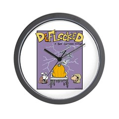 Deflocked Pumpkin Wall Clock