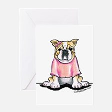 Girly Bulldog Greeting Card