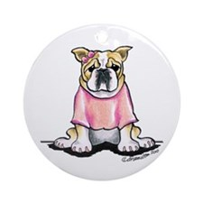 Girly Bulldog Ornament (Round)