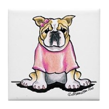 Girly Bulldog Tile Coaster
