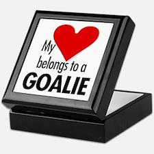 Heart belongs, goalie Keepsake Box
