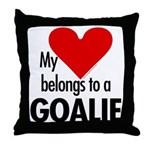 Heart belongs, goalie Throw Pillow