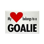Heart belongs, goalie Rectangle Magnet (100 pack)