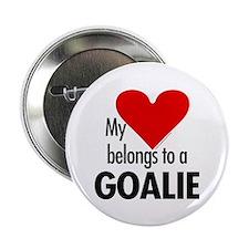 """Heart belongs, goalie 2.25"""" Button (10 pack)"""