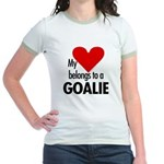 Heart belongs, goalie Jr. Ringer T-Shirt