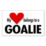 Heart belongs, goalie Rectangle Sticker