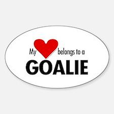 Heart belongs, goalie Oval Decal