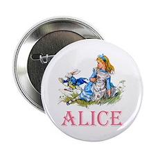 """ALICE IN WONDERLAND - PINK 2.25"""" Button"""