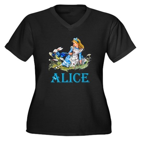 ALICE IN WON Women's Plus Size V-Neck Dark T-Shirt