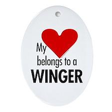 Heart belongs, winger Oval Ornament