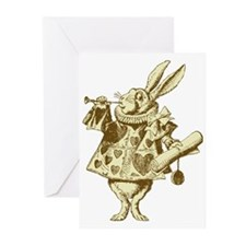 White Rabbit Herald Sepia Greeting Cards (Pk of 20