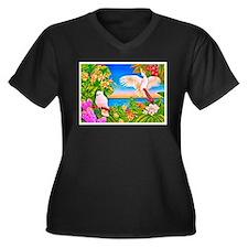 Tropical Paradise Art Women's Plus Size V-Neck Dar