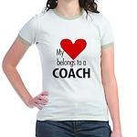 Heart belongs, coach Jr. Ringer T-Shirt